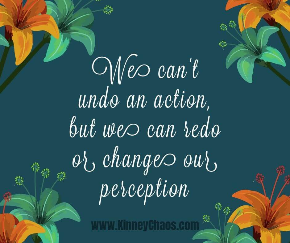We can't undo an action, but we can redo or change our perception. Growth Mindset Quote.