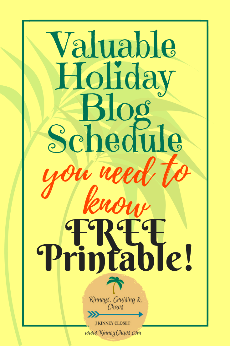 Valuable Holiday Blog Schedule you need to know and FREE Printable